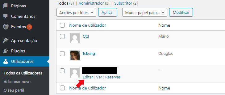 Email de utilizadores do WordPress